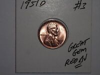 WHEAT CENT 1951D GEM RED BU 1951-D LINCOLN CENT LOT 3 GREAT CARTWHEEL LUSTER