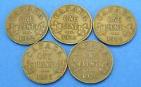 5  CONSECUTIVE SMALL CENT CANADIAN COIN LOT   XF 1922 1923