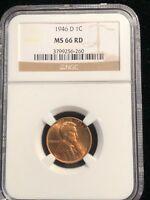 1946 D LINCOLN WHEAT CENT NGC MINT STATE 66 RD BEAUTIFUL PROBLEM FREE INVESTMENT 260