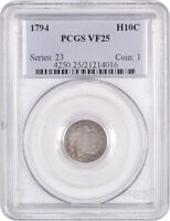 1794 H10C PCGS VF25 - FIRST YEAR OF TYPE - EARLY HALF DIMES - FIRST YEAR OF TYPE