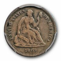 1863  LIBERTY SEATED HALF DIME PCGS VF 20  FINE KEY DATE CAC APPROVED