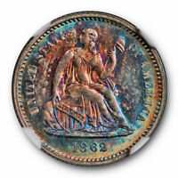 1862 SEATED HALF DIME H10C NGC MINT STATE 65 MONSTER TONED BOTH SIDES BEAUTIFUL