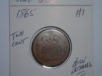 1865 TWO CENT PIECE SEMI-KEY DATE 2 CENT 1865-P LOT 1