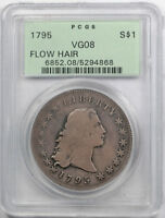 1795 $1 2 LEAVES FLOWING HAIR DOLLAR PCGS VG 8  GOOD OGH TOUGH TYPE