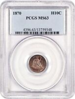 1870 H10C PCGS MINT STATE 63 - LUSTROUS AND FULLY STRUCK - SEATED HALF DIME