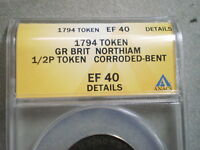 1794 NORTHIAM HALFPENNY TOKEN GREAT BRITAIN EF40 ANACS/ CORRODED, BENT 4837926