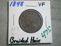 1848 BRAIDED HAIR LARGE CENT/ COOL COIN--HISTORT IN YOUR HAND