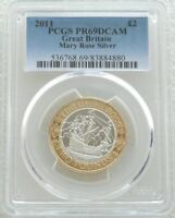 2011 ROYAL MINT MARY ROSE 2 TWO POUND SILVER PROOF COIN PCGS PR69 DCAM