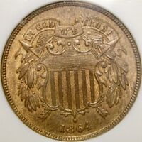 1864/1864 TWO CENT PIECE  REPUNCH DATE NGC MINT STATE 64 RB OLDSLAB VP-007 RPD-3