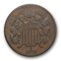 1872 2C TWO CENT PIECE  FINE VF KEY DATE LOW MINTAGE COIN R139