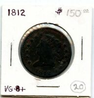 1812 CLASSIC HEAD LARGE CENT COIN        STARTS @ 2.99