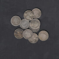 1858 1901 CANADA 5 CENTS SILVER COIN LOT OF 10