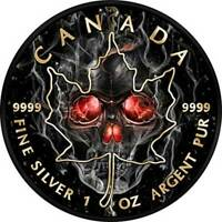 MAPLE LEAF SMOKED SKULL 1OZ BLACK RUTHENIUM BU SILVER COIN 5