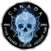 MAPLE LEAF ICE SKULL 1OZ BLACK RUTHENIUM BU SILVER COIN 5$ C