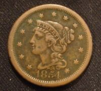 1854 BRAIDED HAIR LIBERTY  CENT F/VF  DETAILS  TYPE COIN