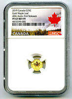 2019 CANADA G25C GOLD 40TH ANNV MAPLE LEAF NGC PF67 REVERSE