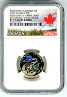 2017 CANADA 150TH ANNIV PROOF 25 CENT NGC PF70 COLORIZED FIR
