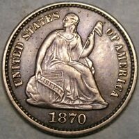 1870 LIBERTY SEATED SILVER HALF DIME HIGH QUALITY BOLD LIBER