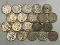 SILVER PEACE DOLLAR LOT 20 MIXED DATE COINS 90  SILVER  F7