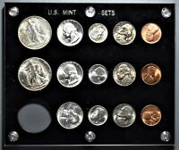 1947 P D S US MINT SILVER UNCIRCULATED 14  COIN SET IN CAPIT