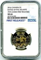 2016 CANADA $2 NGC MS66 FIRST RELEASES BATTLE OF THE ATLANTI