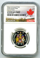 2018 CANADA 50 CENT SILVER COLORED PROOF NGC PF70 UC COAT OF