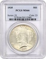 1935 $1 PCGS MINT STATE 66 - SATINY GEM - PEACE SILVER DOLLAR - SATINY GEM