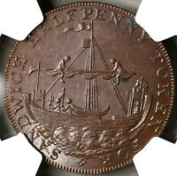 1790S NGC MINT STATE 62 ANCIENT SLOOP CONDER 1/2 PENNY KENT SANDWICH D&H 39 18092006C
