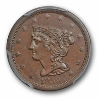 1850 1/2C BRAIDED HAIR HALF CENT PCGS AU 55 ABOUT UNCIRCULATED KEY DATE