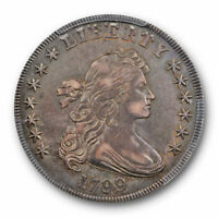 1799 $1 DRAPED BUST DOLLAR PCGS AU 50 ABOUT UNCIRCULATED ORIGINAL TONED