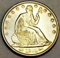 1874 SEATED LIBERTY HALF WITH ARROWS AU     SO SO   GORGEOUS
