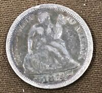1874 10C W/ ARROWS SEATED LIBERTY DIME UNITED STATES COIN.FREE S&H