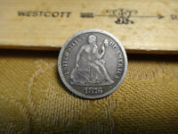 1876-CC BELOW BOW UNITED STATES SEATED LIBERTY DIME 10C - FREE S&H USA