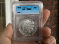 1878 7/8TF MINT STATE 63 VAM 42 STRONG 7/7TF ICG MORGAN SILVER DOLLAR  COIN