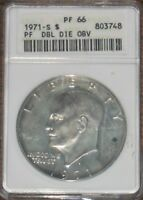1971 S EISENHOWER PROOF SILVER DOLLAR DDO ERROR ANACS GRADE PF 66 DOUBLE DIE OBV