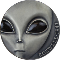 70TH ANN OF ROSWELL INCIDENT UFO ANTIQUE FINISH SILVER COIN