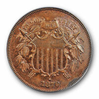 1870 2C TWO CENT PIECE PCGS PR 63 RB RED BROWN PROOF LOW MINTAGE
