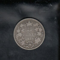 1874 H CANADA SILVER 25 CENTS