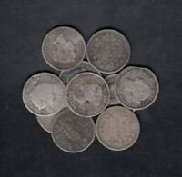 1858 190 CANADA 5 CENTS SILVER COINS LOT OF 10