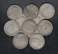 1902 10 CANADA 25 CENTS SILVER COINS LOT OF 12