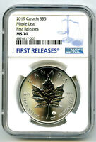 2019 $5 CANADA 1 OZ SILVER MAPLE LEAF NGC MS70  FIRST RELEAS