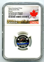 2018 CANADA 5 CENT SILVER COLORED PROOF NGC PF70 UCAM NICKEL