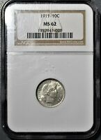 1911 10C BARBER DIME CERTIFIED BY NGC MS62   CC39