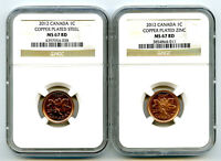 2012 CANADA CENT NGC MS67 RD STEEL AND ZINC TWO COIN SET LAS