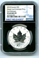 2018 $5 CANADA SILVER MAPLE LEAF NGC PF69 ANTELOPE PRIVY REV