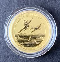 2016 P TUVALU $15 1/10 OZ GOLD PEARL HARBOR COMMEMORATIVE IN