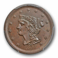1857 1/2C BRAIDED HAIR HALF CENT PCGS MINT STATE 62 BN UNCIRCULATED LAST YEAR TYPE