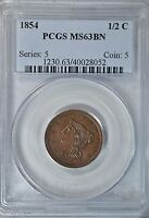 1854 BRAIDED HAIR 1/2 CENT, PCGS MINT STATE 63 BN