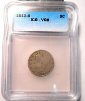 KEY DATE 1912 S LIBERTY V NICKEL ICG-VG8  NO PROBLEM COIN