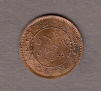HIGH GRADE 1859 CANADIAN LARGE CENT   EXTRA FINE  CONDITION